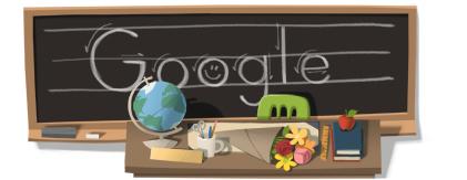 Öğretmenler Günü için Google'dan karatahta doodle.