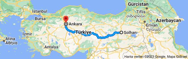 Solhan, Bingöl - Ankara güzergahının haritası