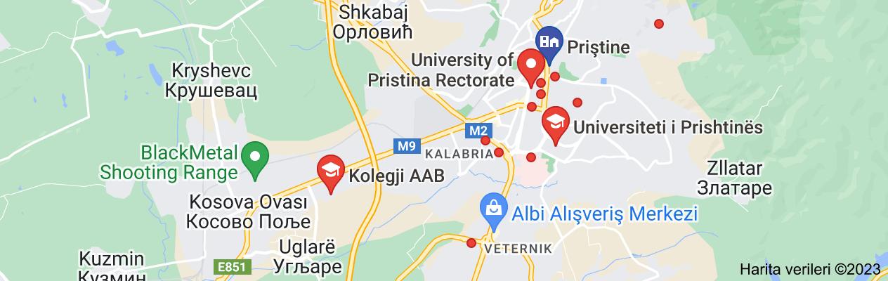 prishtina university haritası