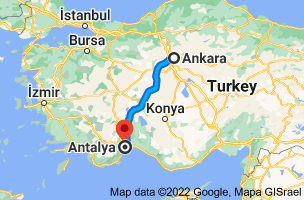 Map from Ankara to Antalya