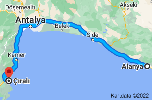 Kart fra Alanya, Antalya til Çıralı, Ulupınar Mahallesi, 07980 Kemer/Antalya